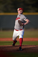 Illinois State Redbirds relief pitcher Jack Landwehr (18) delivers a pitch during a game against the Ohio State Buckeyes on March 5, 2016 at North Charlotte Regional Park in Port Charlotte, Florida.  Illinois State defeated Ohio State 5-4.  (Mike Janes/Four Seam Images)