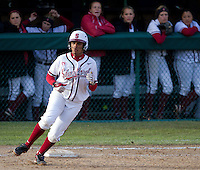 STANFORD, CA - February 25, 2011:  Maya Burns singles during Stanford's 12-0 victory over North Dakota State at Stanford, California on February 25, 2011.