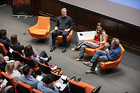 "From left: Christopher Hawthorne; Edith de Guzman, director of research, TreePeople and Andy Lipkis, founder and president, TreePeople<br /> Occidental College's 3rd LA (Re)Designing LA series concludes in Choi Auditorium at Occidental College on April 17, 2019. Hosted by Oxy Professor of Practice and Chief Design Officer for the City of Los Angeles Christopher Hawthorne, guest speakers and panelists discussed ""Turn Off the Sunshine: Shade as an Equity Issue in a Warming Los Angeles.""<br /> 3rd LA is co-sponsored by Occidental, the Mayor's Office and the Los Angeles Department of Cultural Affairs.<br /> (Photo by Marc Campos, Occidental College Photographer)"