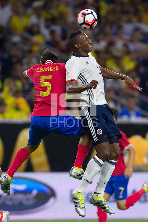 Action photo during the match Colombia vs Costa Rica, Corresponding to  Group -A- of the America Cup Centenary 2016 at NRG Stadium.<br /> <br /> Foto de accion durante el partido Colombia vs Costa Rica, Correspondiente al Grupo -A- de la Copa America Centenario 2016 en el Estadio NRG , en la foto: (i-d) Celso Borges de Costa Rica y Yerry Mina de Colombia<br /> <br /> <br /> 11/06/2016/MEXSPORT/Jorge Martinez.