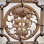 Iron ornamented fence, Ravenna, Italy<br /> <br /> Facing lions