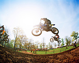 USA, Tennessee, motocross riders getting air in a race