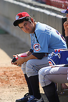 Marco Carrillo #27 of the Tennessee Smokies sitting in the bullpen before a game against the Carolina Mudcats on April 20, 2010  in Zebulon, NC.