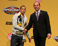 Paolo Cardozo with commissioner Don Garber at the 2011 MLS Superdraft, in Baltimore, Maryland on January 13, 2010.