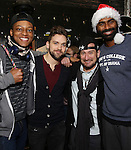 J. Quinton Johnson , Neil Haskell, Roddy Kennedy and Nik Walker backstage  before the Gilder Lehman Institute of American History Education Matinee of 'Hamilton' at the Richard Rodgers  Theatre on December 15, 2016 in New York City.