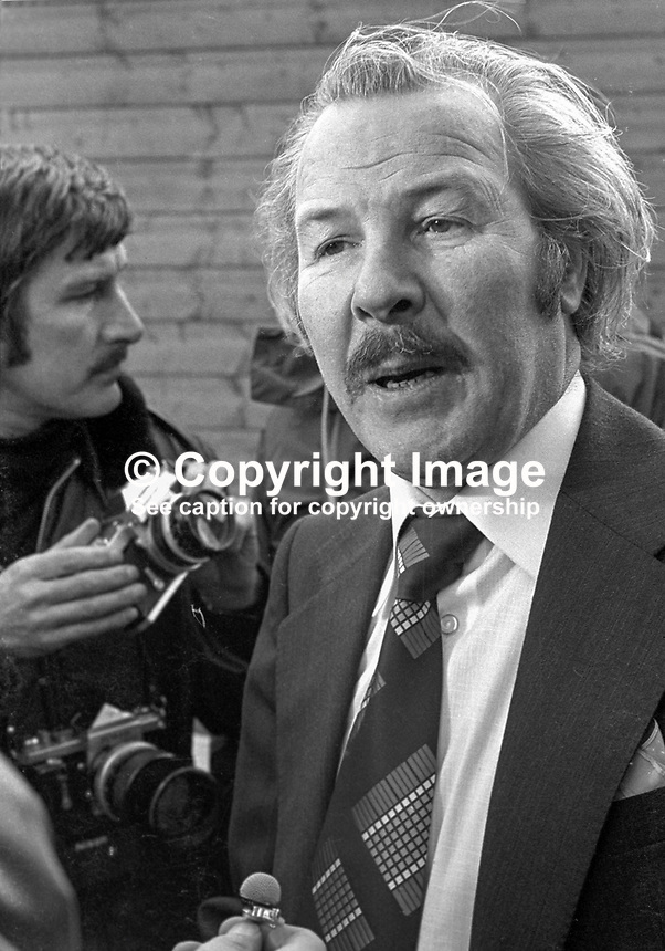 Harper Brown, manager, much-bombed Europa Hotel, Belfast, during the Troubles in N Ireland, is interviewed by Press & TV after the 27th explosion at the hotel which caused extensive damage but there were no injuries. 197501180056a..Copyright Image from Victor Patterson, 54 Dorchester Park, Belfast, UK, BT9 6RJ..Tel: +44 28 9066 1296.Mob: +44 7802 353836.Voicemail +44 20 8816 7153.Skype: victorpattersonbelfast.Email: victorpatterson@me.com.Email: victorpatterson@ireland.com (back-up)..IMPORTANT: If you wish to use this image or any other of my images please go to www.victorpatterson.com and click on the Terms & Conditions. Then contact me by email or phone with the reference number(s) of the image(s) concerned.