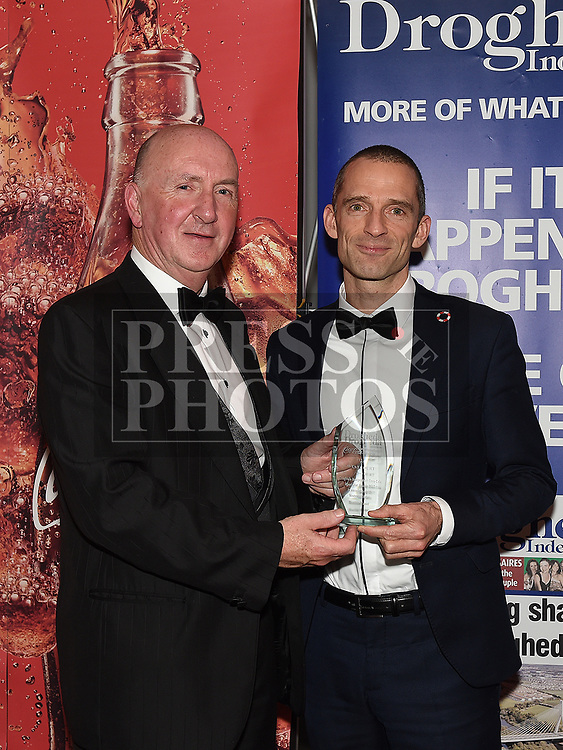 Pat Gough presents the March award to Mark O'Shea at the Drogheda Independent Sports Star Awards in the Westcourt Hotel.  Photo:Colin Bell/pressphotos.ie