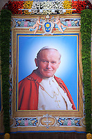John Paul II,Pope Francis during the canonisation mass of Popes John XXIII and John Paul II on St Peter's at the Vatican on April 27, 2014.