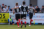 Scott Brown of Grimsby Town (centre) and Craig Disley of Grimsby Town (left) rush to contratulate Nathan Arnold of Grimsby Town (right) on scoring the opening goalagainst Eastleigh Football Club during the Vanamara Conference Play Off Semi Final First Leg match between Eastleigh and Grimsby Town at The Silverlake Stadium, Eastleigh<br /> Picture by David Horn/eXtreme aperture photography +44 7545 970036<br /> 30/04/2015
