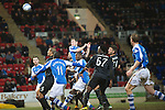 St Johnstone v Celtic.....19.02.13      SPL.Frazer Wright heads in but the goal was disallowed for offside.Picture by Graeme Hart..Copyright Perthshire Picture Agency.Tel: 01738 623350  Mobile: 07990 594431