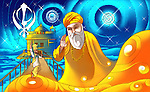 Guru Nanak Dev the first guru of Sikhism with golden temple in the background