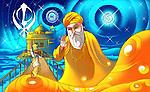Guru Nanak Dev the first guru of Sikhism with golden temple in the background