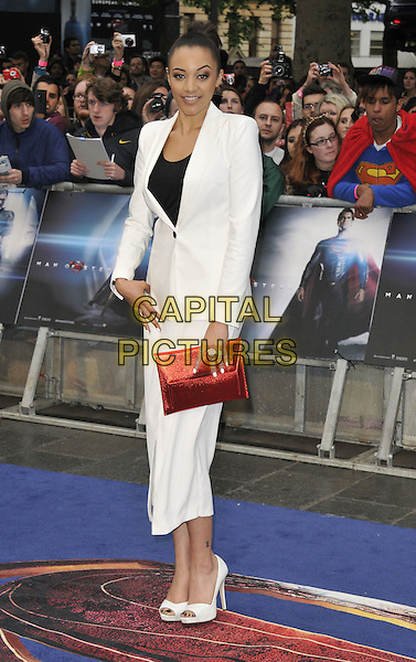 Amal Fashanu<br /> 'Man Of Steel' UK film premiere, Empire cinema, Leicester Square, London, England.<br /> 12th June 2013<br /> full length black top white cropped trousers blazer suit red clutch bag<br /> CAP/DS<br /> &copy;Dudley Smith/Capital Pictures