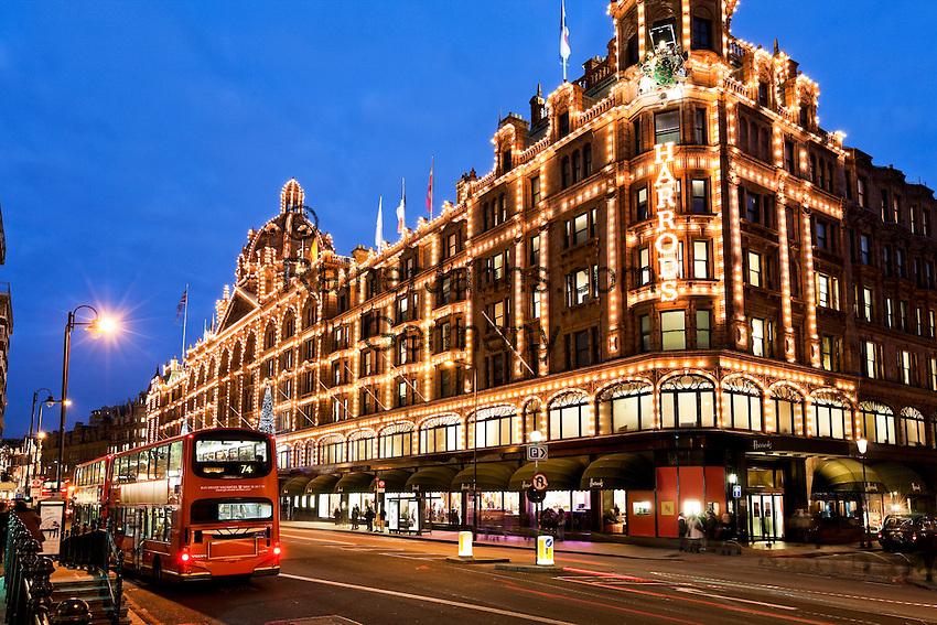 United Kingdom, London, Knightsbridge: Harrods Department Store at Christmas