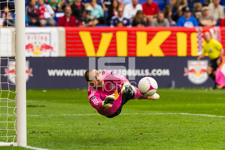 New York Red Bulls goalkeeper Luis Robles (31) makes a save. The Chicago Fire defeated the New York Red Bulls 2-0 during a Major League Soccer (MLS) match at Red Bull Arena in Harrison, NJ, on October 06, 2012.