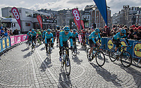 A peloton in mourning approaches the race start in Liège.<br /> Only 1day earlier Astana teammate Michele Scarponi died in a training accident and the peloton is still in chock after the loss of their beloved colleague.<br /> <br /> 103rd Liège-Bastogne-Liège 2017 (1.UWT)<br /> One Day Race: Liège › Ans (258km)