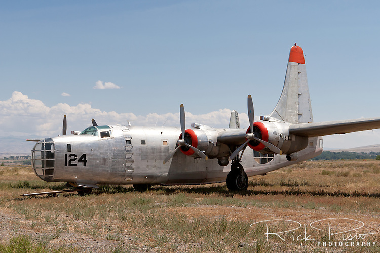 Hawkins and Powers PB4Y sits in the Greybull, Wyoming, storage area. BuNo. 66300, N2872G, is a PB4Y-2. First built in 1943 The Privateer was used primarily in the the Pacific Theatre for long range patrols. Hawkins and Powers used a number of Privateers for aerial firefighting.<br /> <br /> The PB4Y-2 Privateer was based on the B-24N Liberator with modifications specified by the Navy for a patrol bomber. The most noteable difference is the tail section. The PB4Y also did not have turbocharged engines since its role as a patrol bomber did not require it to operate at the altitudes that the B-24 did.