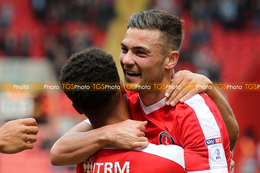 Jake Forster-Caskey celebrates scoring Charlton's second goal with Nathan Byrne during Charlton Athletic vs Swindon Town, Sky Bet EFL League 1 Football at The Valley on 30th April 2017