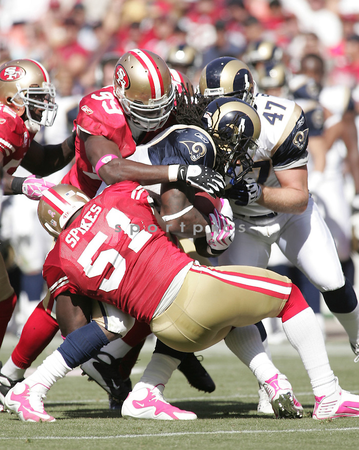 MANNY LAWSON, of the San Francisco 49ers  in action during the 49ers game against St. Louis Rams  in San Francisco, CA on October 4, 2009.  The 49ers  beat the Rams 35-0..