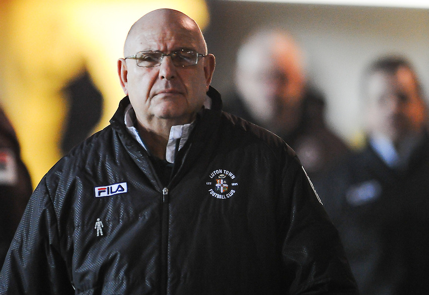 Luton Town manager John Still  en-route to the dug out<br /> <br /> Photographer Craig Thomas/CameraSport<br /> <br /> Football - The Football League Sky Bet League Two - Newport County AFC v Luton Town - Tuesday 17th March 2015 - Rodney Parade - Newport<br /> <br /> &copy; CameraSport - 43 Linden Ave. Countesthorpe. Leicester. England. LE8 5PG - Tel: +44 (0) 116 277 4147 - admin@camerasport.com - www.camerasport.com