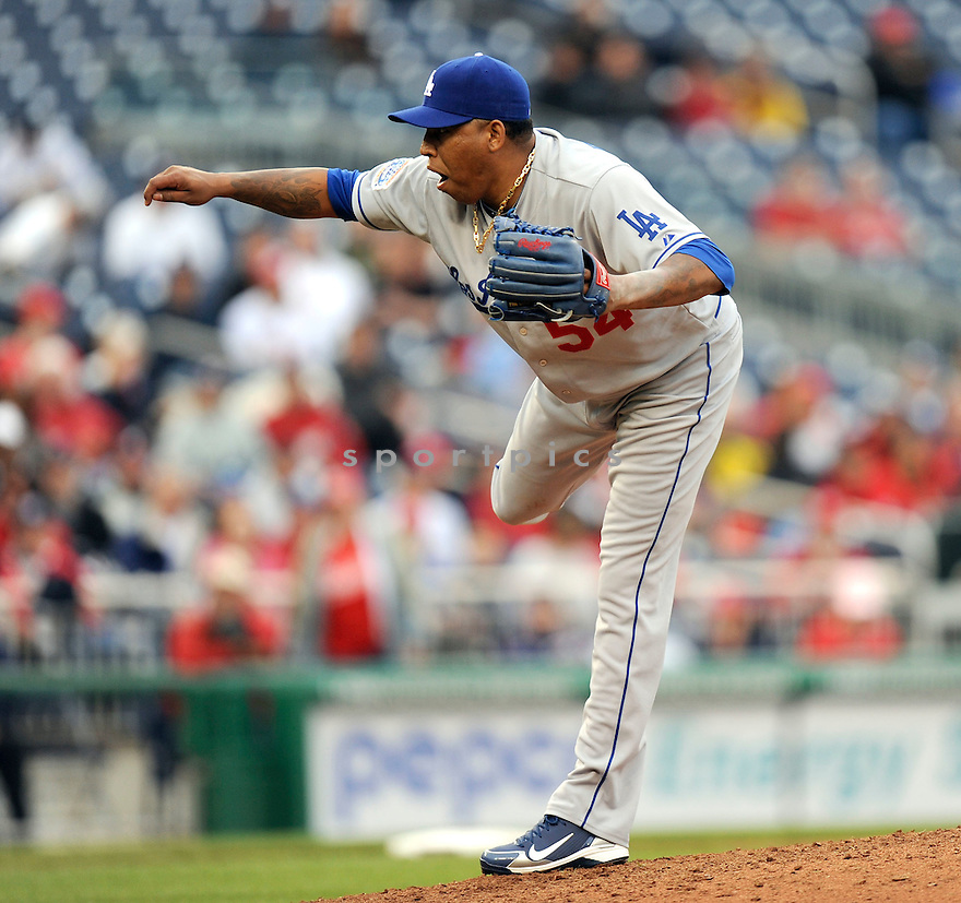 RONALD BELISARIO, of the Los Angeles Dodgers, in action during the Dodgers game against the Washington Nations  at Nationals Park in Washington D.C.on April 25, 2010.   The Dodgers win the game 1-0....