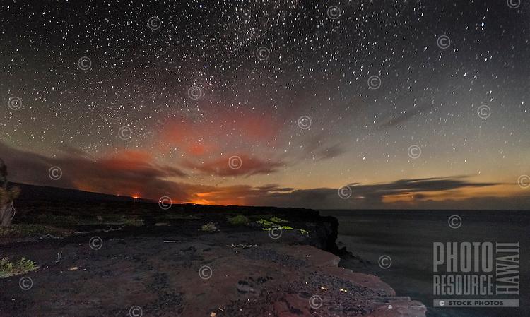 Stars of the Milky Way enhance the glow of lava, Hawai'i Volcanoes National Park, Big Island.