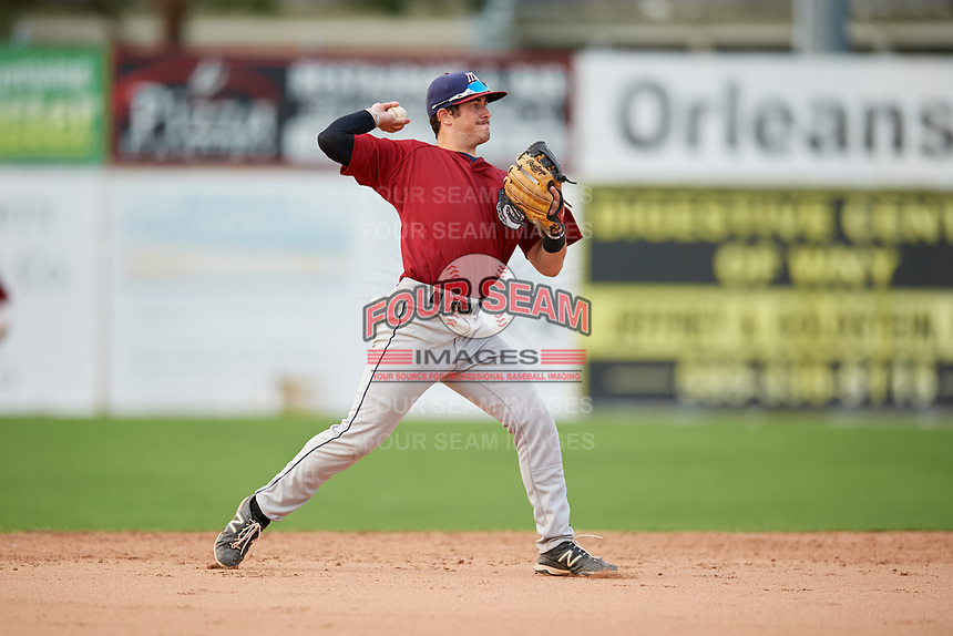 Mahoning Valley Scrappers shortstop Tyler Friis (34) throws to first base during the second game of a doubleheader against the Batavia Muckdogs on September 4, 2017 at Dwyer Stadium in Batavia, New York.  Mahoning Valley defeated Batavia 6-2.  (Mike Janes/Four Seam Images)