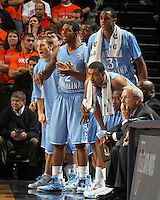 Jan. 8, 2011; Charlottesville, VA, USA;  The North Carolina Tar Heels bench reacts to a play during the game against the Virginia Cavaliers at the John Paul Jones Arena. North Carolina won 62-56. Mandatory Credit: Andrew Shurtleff