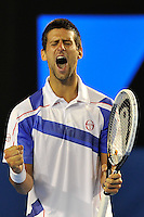MELBOURNE, 30 JANUARY - Novak Djokovic (SRB) in action during the men's singles final match against Andy Murray (GBR) on day fourteen of the 2011 Australian Open at Melbourne Park, Australia. (Photo Sydney Low / syd-low.com)