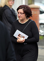 COPY BY TOM BEDFORD<br /> Pictured: Mourners after the service outside Jerusalem Baptist Chapel in Merthyr Tydfil, Wales, UK. Friday 18 August 2017<br /> Re: The funeral of a toddler who died after a parked Range Rover's brakes failed and it hit a garden wall which fell on top of her will be held today at Jerusalem Baptist Chapel in Merthyr Tydfil.<br /> One year old Pearl Melody Black and her eight-month-old brother were taken to hospital after the incident in south Wales.<br /> Pearl's family, father Paul who is The Voice contestant and mum Gemma have said she was &quot;as bright as the stars&quot;.