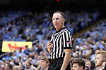 CHAPEL HILL, NC - DECEMBER 20: Referee Mike Eades. The University of North Carolina Tar Heels hosted the Wofford College Terriers on December 20, 2017 at Dean E. Smith Center in Chapel Hill, NC in a Division I men's college basketball game. Wofford won the game, upsetting UNC, 79-75.