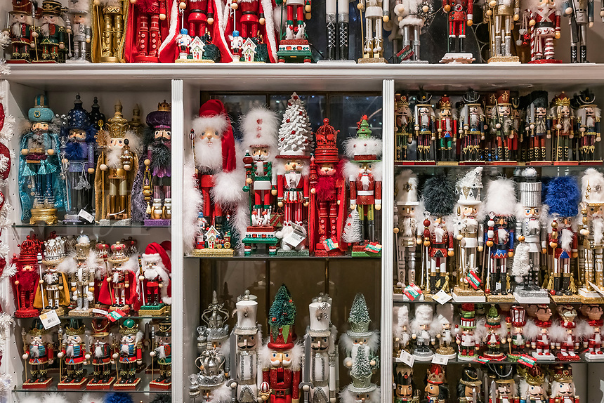 Wide selection of nutcracker figurines at the Yankee Candle flagship store, South Deerfield, Massachusetts, USA.