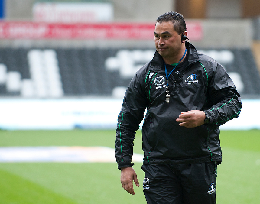 Connacht's Head Coach Pat Lam watches his side warm up<br /> <br /> Photo by Kevin Barnes/CameraSport<br /> <br /> Rugby Union - RaboDirect PRO12 - Ospreys v Connacht - Saturday 10th May 2014 - Liberty Stadium - Swansea<br /> <br /> &copy; CameraSport - 43 Linden Ave. Countesthorpe. Leicester. England. LE8 5PG - Tel: +44 (0) 116 277 4147 - admin@camerasport.com - www.camerasport.com