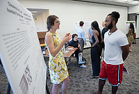 """Characteristics of cyt-c552 and CuA proteins on self-assembled thiol monolayers using gold bead electrodes"" by Charlotte Cullip<br /> (Mentor: Michael Hill, Chemistry)<br /> Occidental College's Undergraduate Research Center hosts their annual Summer Research Conference, Aug. 1, 2018. Student researchers presented their work as either oral or poster presentations at the final conference. The program lasts 10 weeks and involves independent research in all departments.<br /> (Photo by Marc Campos, Occidental College Photographer)"