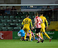 Northampton Town's Kevin van Veen scores his side's equalising goal to make the score 2-2<br /> <br /> Photographer Chris Vaughan/CameraSport<br /> <br /> Emirates FA Cup First Round - Lincoln City v Northampton Town - Saturday 10th November 2018 - Sincil Bank - Lincoln<br />  <br /> World Copyright © 2018 CameraSport. All rights reserved. 43 Linden Ave. Countesthorpe. Leicester. England. LE8 5PG - Tel: +44 (0) 116 277 4147 - admin@camerasport.com - www.camerasport.com