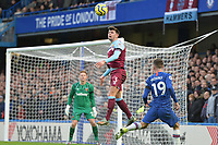 Aaron Cresswell heads clear during Chelsea vs West Ham United, Premier League Football at Stamford Bridge on 30th November 2019