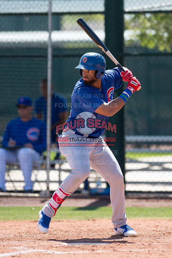 Chicago Cubs right fielder Jonathan Sierra (22) at bat during an Extended Spring Training game against the Los Angeles Angels at Sloan Park on April 14, 2018 in Mesa, Arizona. (Zachary Lucy/Four Seam Images)