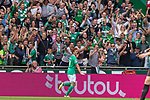 01.09.2019, wohninvest Weserstadion, Bremen, GER, 1.FBL, Werder Bremen vs FC Augsburg, <br /> <br /> DFL REGULATIONS PROHIBIT ANY USE OF PHOTOGRAPHS AS IMAGE SEQUENCES AND/OR QUASI-VIDEO.<br /> <br />  im Bild<br /> <br /> 2:1 Joshua Sargent (Werder Bremen #19<br /> jubel <br /> <br /> Foto © nordphoto / Kokenge