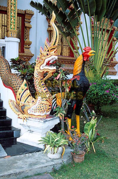 Colourful statues, Wat Phra That Haripunchai Temple, Lamphun, Near Chiang Mai, Northern Thailand