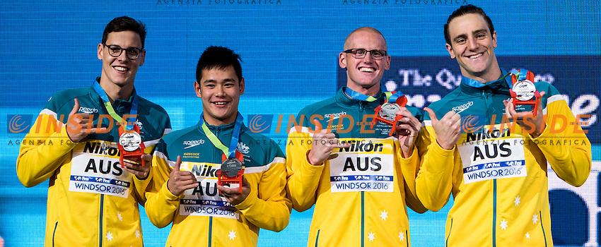 Australia AUS Silver Medal <br /> LARKIN Mitchell SUCIPTO Tommy MORGAN David <br /> D'ORSOGNA Tommaso  <br /> Men's 4x100m Medley Relay<br /> 13th Fina World Swimming Championships 25m <br /> Windsor  Dec. 11th, 2016 - Day06 Finals<br /> WFCU Centre - Windsor Ontario Canada CAN <br /> 20161211 WFCU Centre - Windsor Ontario Canada CAN <br /> Photo &copy; Giorgio Scala/Deepbluemedia/Insidefoto