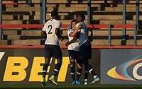 Celebrations after Phoenix Patterson (centre) of Spurs goal during the Premier League 2 match between Chelsea U23 and Tottenham Hotspur U23 at the Electrical Services Stadium, Aldershot, England on 30 August 2019. Photo by Andy Rowland.