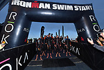 OCEANSIDE, CA - APRIL 7:  General view of the Men's Professional athletes preparing to enter the water during the IRONMAN 70.3 Oceanside Triathlon on April 7, 2018 in Oceanside, California. (Photo by Donald Miralle for IRONMAN)