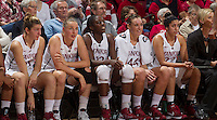 Toni Kokenis, Mikaela Ruef, Chiney Ogwumike, Joslyn Tinkle, and Kiran Lakhian watch Saturday, November 25, 2012 game at Stanford against Long Beach State.. Stanford won 77-41.