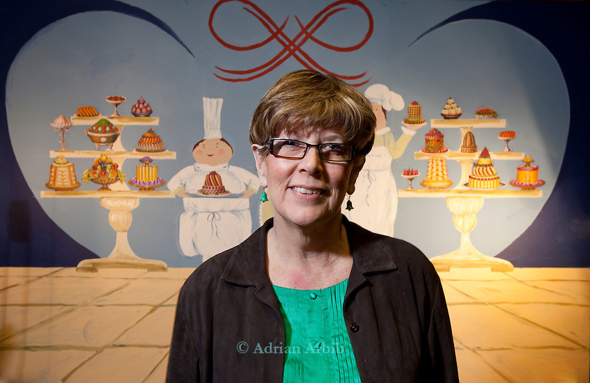 Prue Leith  giving  a talk at the Wootton talks, Oxfordshire.