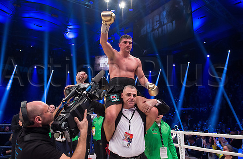 27.02.2016. Halle, Germany.  Marco Huck (Germany) celebrates his victory against Ola Afolabi (Great Britain) after the cruiserweight boxing match at the IBO World Championships in Halle, Germany, 27 February 2016. Marco Huck won in the 10th round.