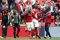 Charlton's Jake Forster-Caskey (No 8) celebrates their victory and promotion to the Championship at the final whistle during Charlton Athletic vs Sunderland AFC, Sky Bet EFL League 1 Play-Off Final Football at Wembley Stadium on 26th May 2019