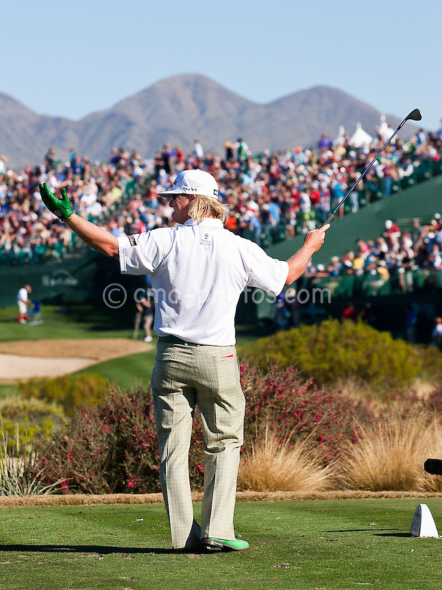 Jan 31, 2009; Scottsdale, AZ, USA; Charley Hoffman (USA) reacts to the crowds boos after his tee shot missed the green on the 16th hole during the third round of the FBR Open at the TPC Scottsdale.