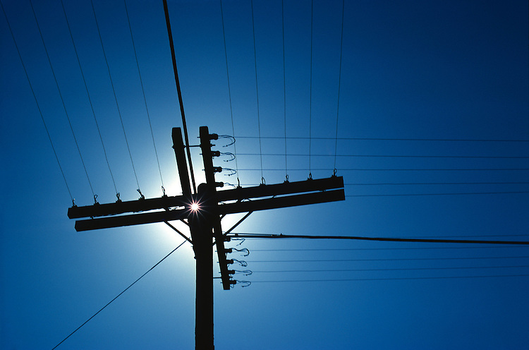Telephone Pole with Sun