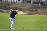 Alexander Levy (FRA) plays his 2nd shot on the 16th hole during Sunday's Final Round of the 2014 BMW Masters held at Lake Malaren, Shanghai, China. 2nd November 2014.<br /> Picture: Eoin Clarke www.golffile.ie