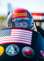 Nov 2, 2019; Las Vegas, NV, USA; NHRA top fuel driver Brittany Force during qualifying for the Dodge Nationals at The Strip at Las Vegas Motor Speedway. Mandatory Credit: Mark J. Rebilas-USA TODAY Sports
